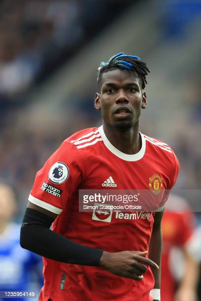 Paul Pogba of Manchester United looks on during the Premier League match between Leicester City and Manchester United at The King Power Stadium on...