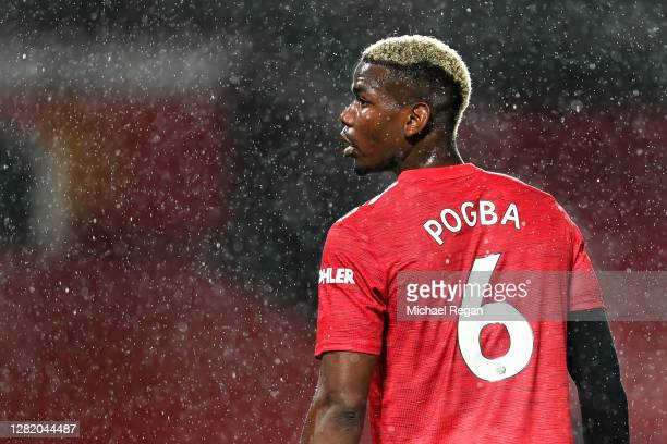 Paul Pogba of Manchester United looks on during the Premier League match between Manchester United and Chelsea at Old Trafford on October 24, 2020 in...
