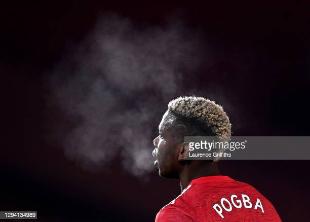 Paul Pogba of Manchester United looks on during the Premier League match between Manchester United and Aston Villa at Old Trafford on January 01,...