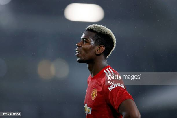 Paul Pogba of Manchester United looks on during the Premier League match between Fulham and Manchester United at Craven Cottage on January 20, 2021...