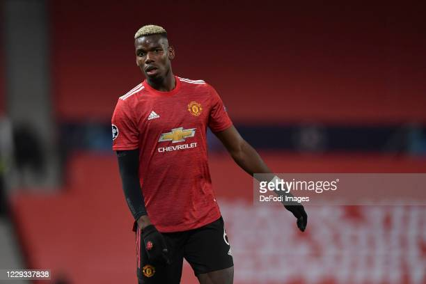 Paul Pogba of Manchester United looks on during the UEFA Champions League Group H stage match between Manchester United and RB Leipzig at Old...
