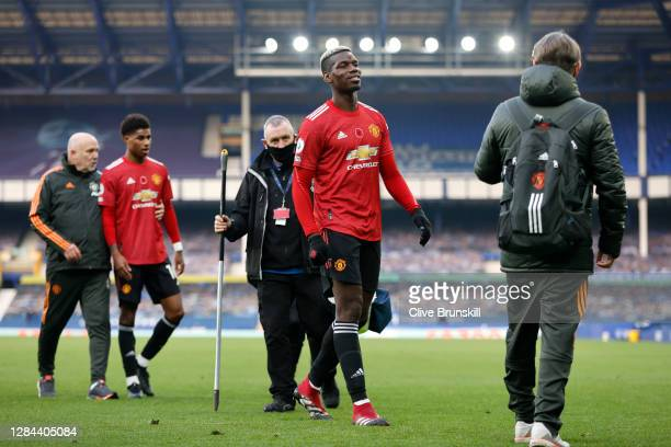 Paul Pogba of Manchester United looks on following the Premier League match between Everton and Manchester United at Goodison Park on November 07,...