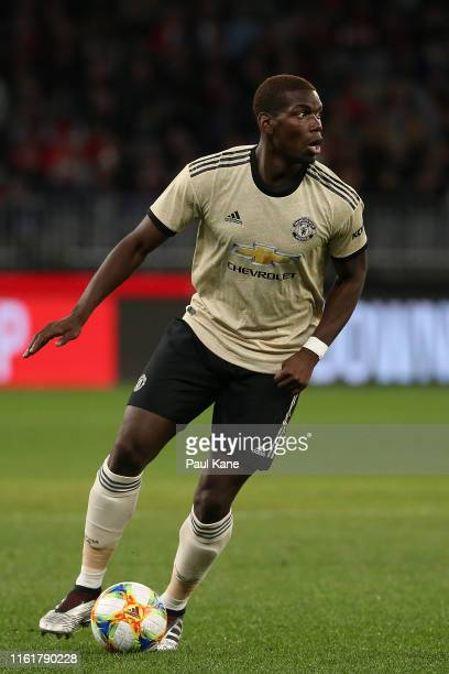 Paul Pogba of Manchester United looks to pass the ball during the match between the Perth Glory and Manchester United at Optus Stadium on July 13,...
