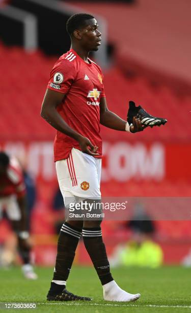 Paul Pogba of Manchester United loses his boot during the Premier League match between Manchester United and Crystal Palace at Old Trafford on...