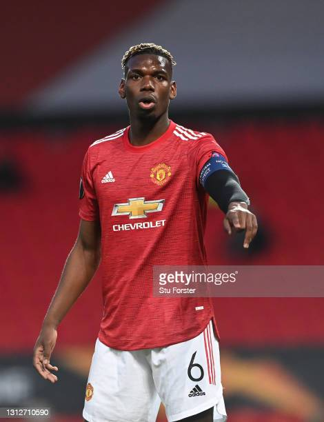 Paul Pogba of Manchester United makes a point during the UEFA Europa League Quarter Final Second Leg match between Manchester United and Granada CF...