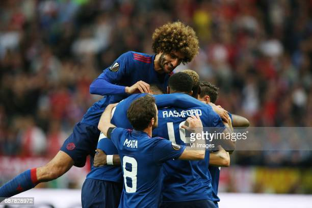 Paul Pogba of Manchester United Marouane Fellaini of Manchester United Juan Mata of Manchester United Marcus Rashford of Manchester Unitedduring the...