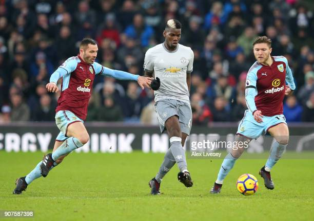 Paul Pogba of Manchester United passes the ball during the Premier League match between Burnley and Manchester United at Turf Moor on January 20 2018...