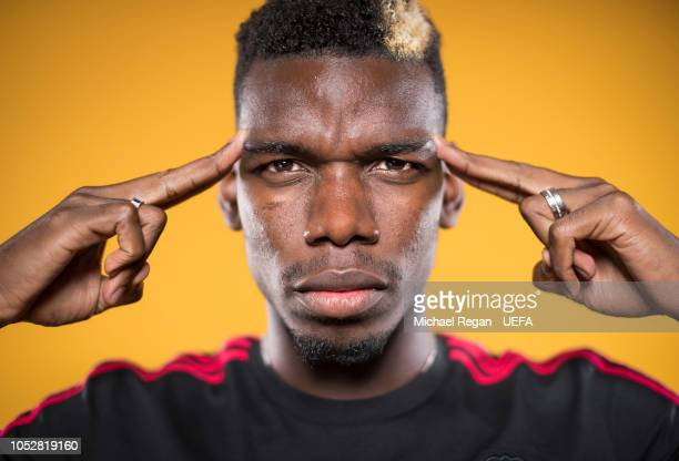 Paul Pogba of Manchester United poses at the Aon Training Complex on October 22, 2018 in Manchester, England.