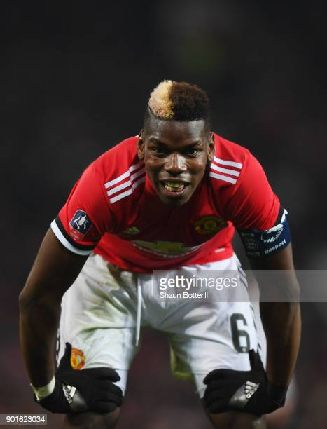 Paul Pogba of Manchester United reacts after a miss during the Emirates FA Cup Third Round match between Manchester United and Derby County at Old...
