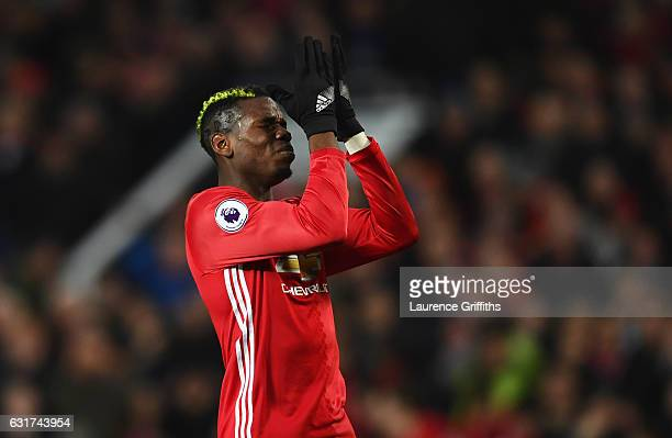 Paul Pogba of Manchester United reacts after a missed chance during the Premier League match between Manchester United and Liverpool at Old Trafford...