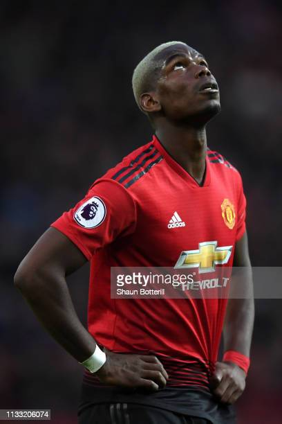 Paul Pogba of Manchester United reacts after his penalty is saved during the Premier League match between Manchester United and Southampton FC at Old...