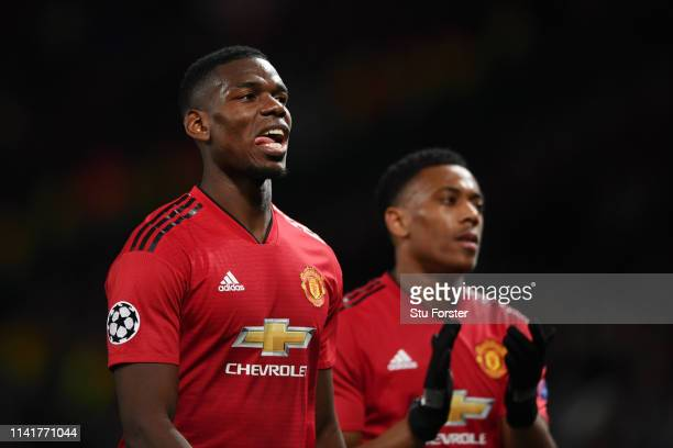 Paul Pogba of Manchester United reacts after the UEFA Champions League Quarter Final first leg match between Manchester United and FC Barcelona at...