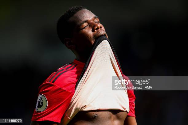 Paul Pogba of Manchester United reacts at full time during the Premier League match between Huddersfield Town and Manchester United at John Smith's...