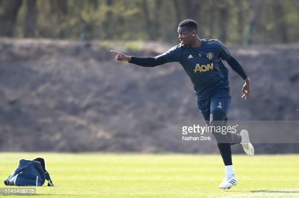 Paul Pogba of Manchester United reacts during the Manchester United training session ahead of the UEFA Champions League Quarter Final First Leg match...