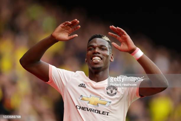 Paul Pogba of Manchester United reacts during the Premier League match between Watford FC and Manchester United at Vicarage Road on September 15 2018...