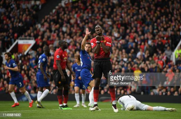 Paul Pogba of Manchester United reacts during the Premier League match between Manchester United and Chelsea FC at Old Trafford on April 28 2019 in...