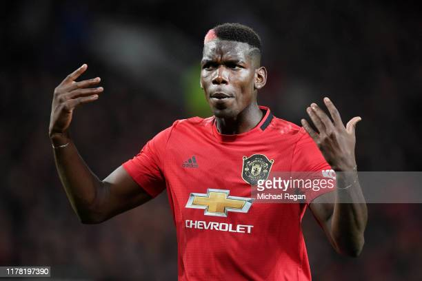 Paul Pogba of Manchester United reacts during the Premier League match between Manchester United and Arsenal FC at Old Trafford on September 30 2019...