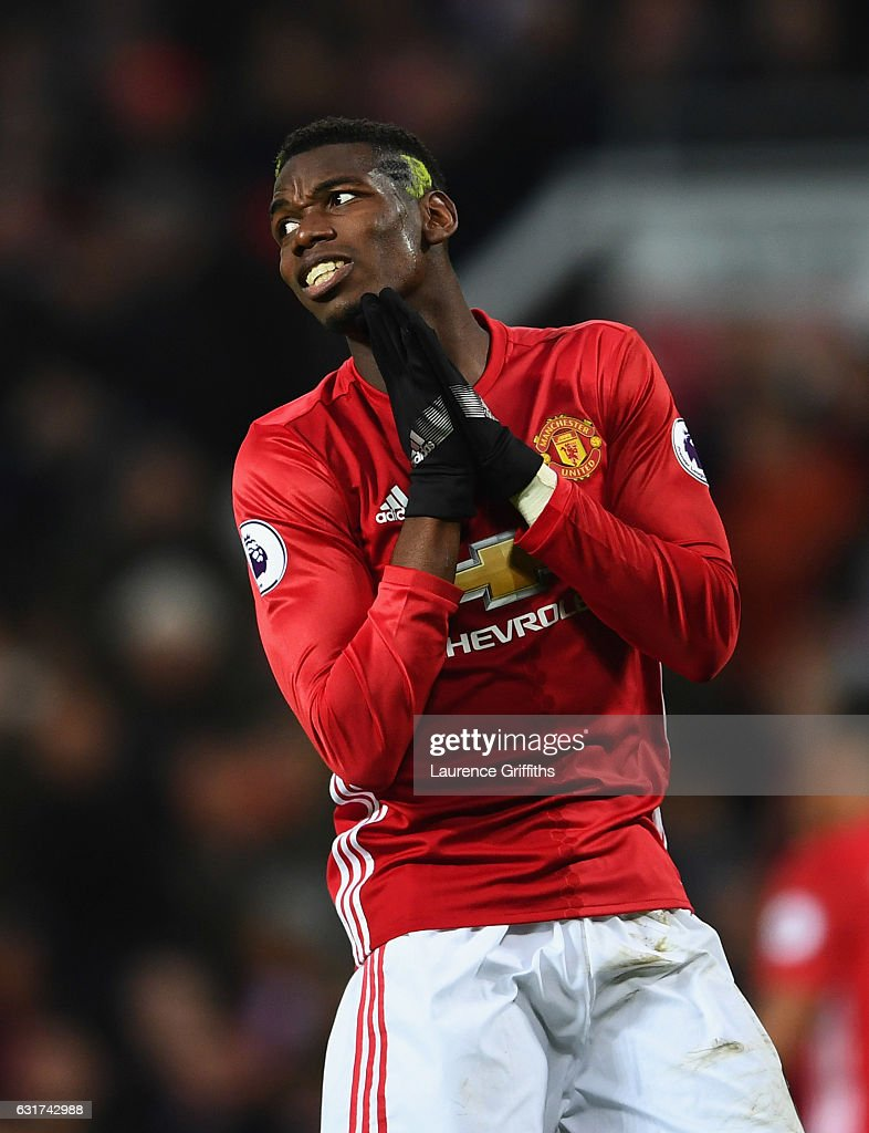 Paul Pogba of Manchester United reacts during the Premier League match between Manchester United and Liverpool at Old Trafford on January 15, 2017 in Manchester, England.