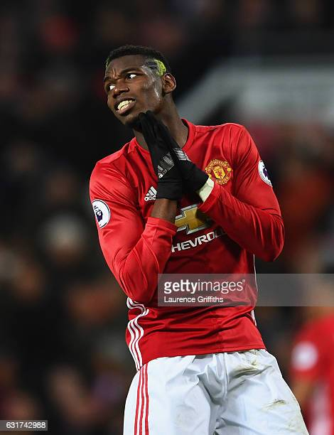 Paul Pogba of Manchester United reacts during the Premier League match between Manchester United and Liverpool at Old Trafford on January 15 2017 in...