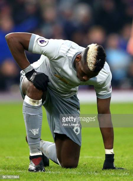 Paul Pogba of Manchester United reacts during the Premier League match between Burnley and Manchester United at Turf Moor on January 20 2018 in...