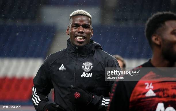 Paul Pogba of Manchester United reacts during the UEFA Champions League Group H stage match between Paris SaintGermain and Manchester United at Parc...
