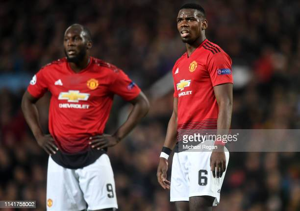 Paul Pogba of Manchester United reacts during the UEFA Champions League Quarter Final first leg match between Manchester United and FC Barcelona at...