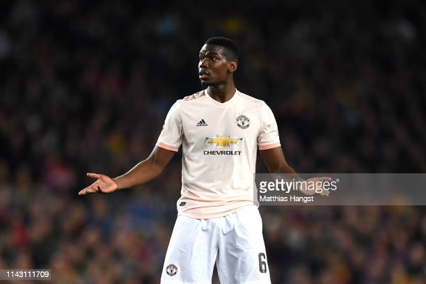 Paul Pogba of Manchester United reacts during the UEFA Champions League Quarter Final second leg match between FC Barcelona and Manchester United at...