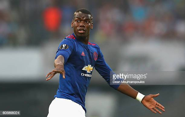 Paul Pogba of Manchester United reacts during the UEFA Europa League Group A match between Feyenoord and Manchester United FC at Feijenoord Stadion...