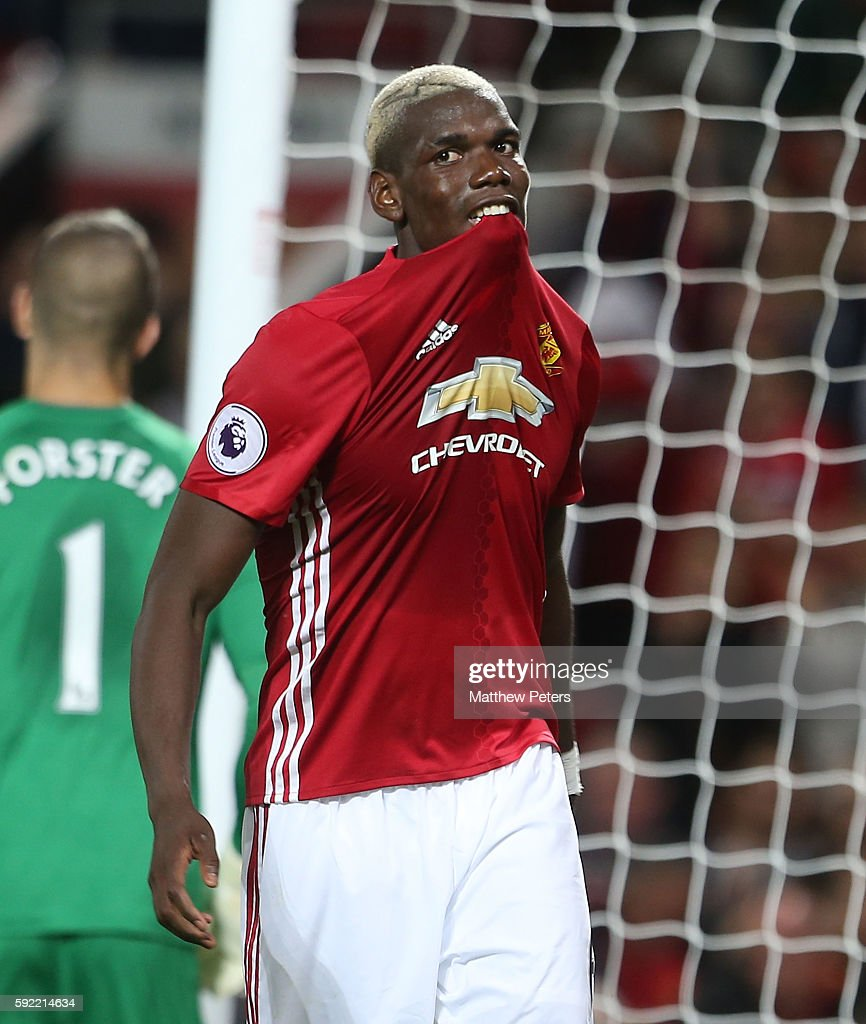 Paul Pogba of Manchester United reacts to a missed chance during the Premier League match between Manchester United and Southampton at Old Trafford on August 19, 2016 in Manchester, England.