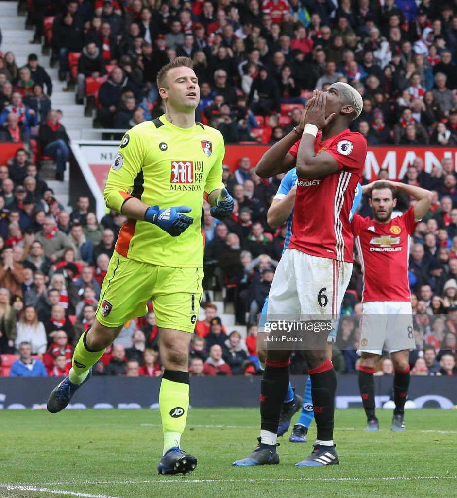 Paul Pogba of Manchester United reacts to a missed chance during the Premier League match between Manchester United and AFC Bournemouth at Old Trafford on March 4, 2017 in Manchester, England.