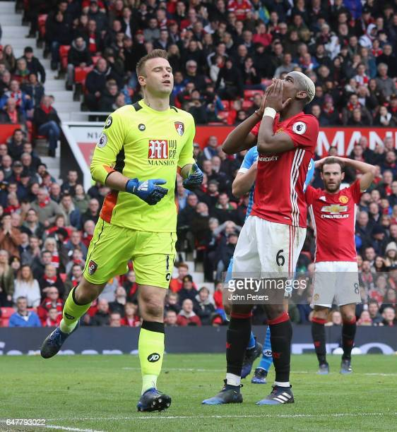 Paul Pogba of Manchester United reacts to a missed chance during the Premier League match between Manchester United and AFC Bournemouth at Old...