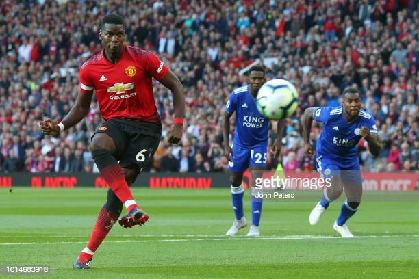 Paul Pogba of Manchester United scores a penalty to make it 10 during the Premier League match between Manchester United and Leicester City at Old...