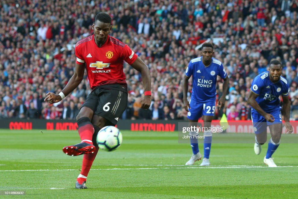 Paul Pogba of Manchester United scores a penalty to make it 1-0 during the Premier League match between Manchester United and Leicester City at Old Trafford on August 10, 2018 in Manchester, United Kingdom.