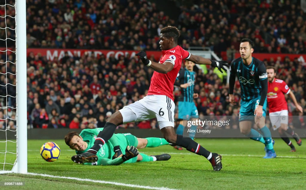 Paul Pogba of Manchester United scores, but the goal is disallowed during the Premier League match between Manchester United and Southampton at Old Trafford on December 30, 2017 in Manchester, England.
