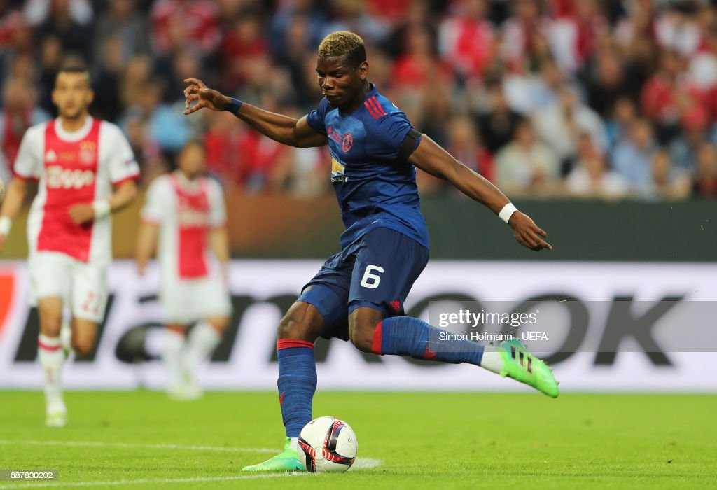 Paul Pogba of Manchester United scores his sides first goal during the UEFA Europa League Final between Ajax and Manchester United at Friends Arena on May 24, 2017 in Stockholm, Sweden.