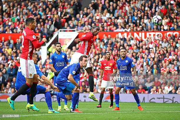 Paul Pogba of Manchester United scores his sides fourth goal during the Premier League match between Manchester United and Leicester City at Old...
