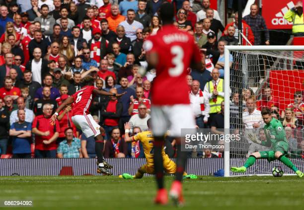 Paul Pogba of Manchester United scores his sides second goal during the Premier League match between Manchester United and Crystal Palace at Old...