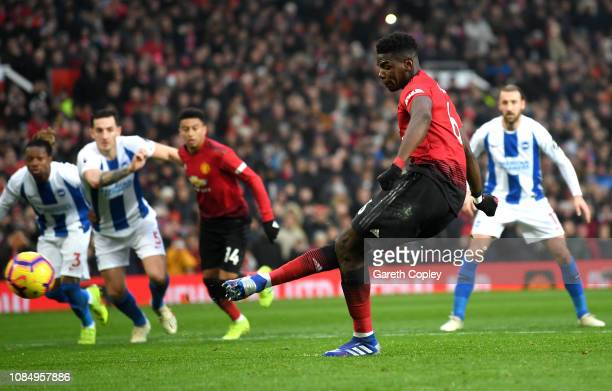 Paul Pogba of Manchester United scores his team's first goal during the Premier League match between Manchester United and Brighton Hove Albion at...
