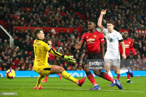 Paul Pogba of Manchester United scores his team's first goal past Thomas Heaton of Burnley but it is later disallowed during the Premier League match...