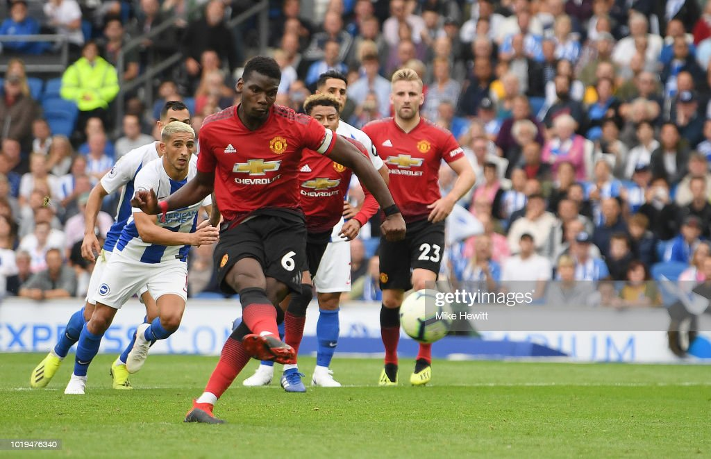 Paul Pogba of Manchester United scores his team's second goal from a penalty during the Premier League match between Brighton & Hove Albion and Manchester United at American Express Community Stadium on August 19, 2018 in Brighton, United Kingdom.