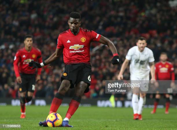Paul Pogba of Manchester United scores their first goal during the Premier League match between Manchester United and Burnley FC at Old Trafford on...