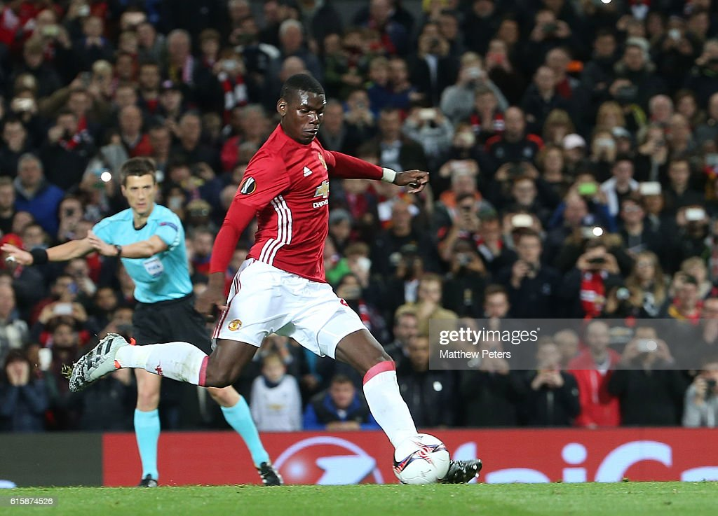 Paul Pogba of Manchester United scores their first goal during the UEFA Europa League match between Manchester United FC and Fenerbahce SK at Old Trafford on October 20, 2016 in Manchester, England.