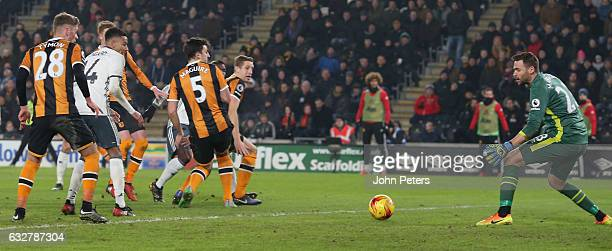 Paul Pogba of Manchester United scores their first goal during the EFL Cup SemiFinal second leg match between Hull City and Manchester United at KCOM...