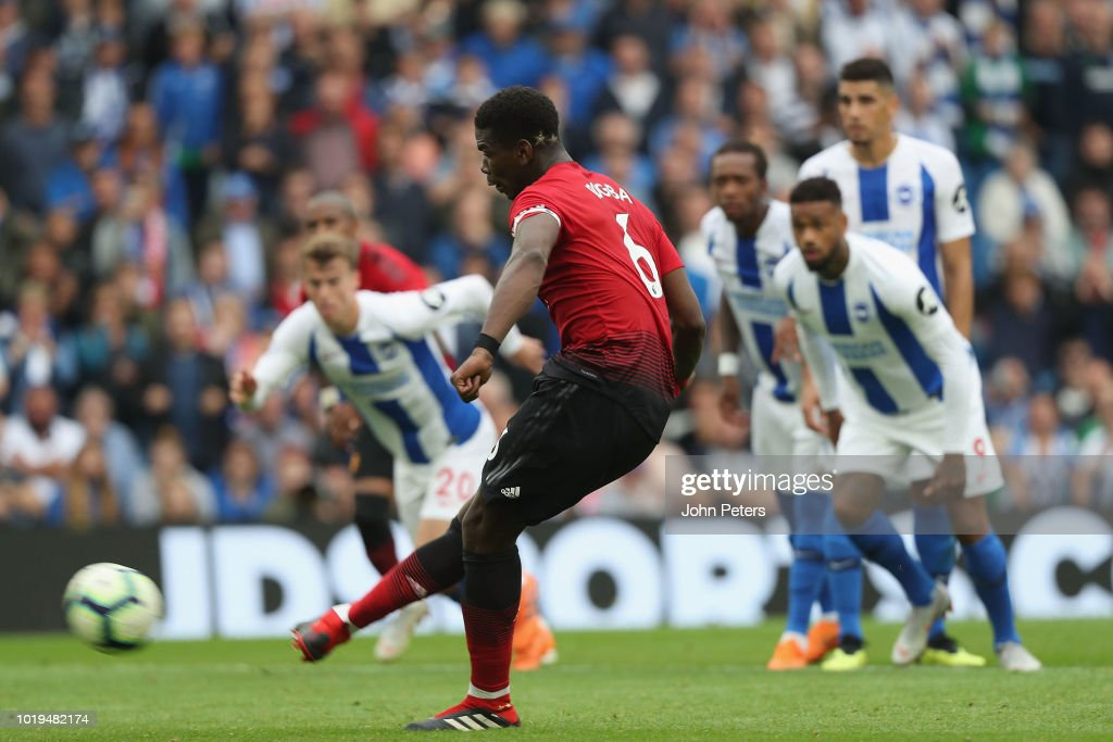 Paul Pogba of Manchester United scores their second goal during the Premier League match between Brighton & Hove Albion and Manchester United at American Express Community Stadium on August 19, 2018 in Brighton, United Kingdom.
