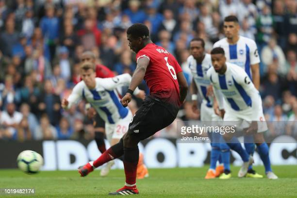 Paul Pogba of Manchester United scores their second goal during the Premier League match between Brighton Hove Albion and Manchester United at...