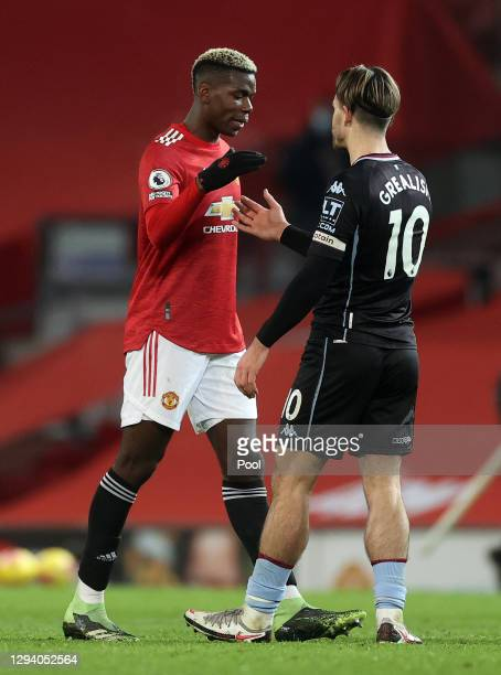 Paul Pogba of Manchester United shakes hands with Jack Grealish of Aston Villa following the Premier League match between Manchester United and Aston...