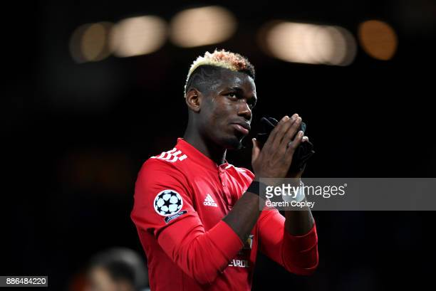 Paul Pogba of Manchester United shows appreciation to the fans after the UEFA Champions League group A match between Manchester United and CSKA...