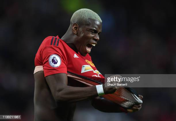 Paul Pogba of Manchester United shows his frustration during the Premier League match between Manchester United and Southampton FC at Old Trafford on...