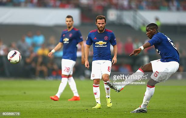 Paul Pogba of Manchester United takes a free kick during the UEFA Europa League Group A match between Feyenoord and Manchester United FC at...