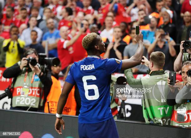 Paul Pogba of Manchester United takes a selfie during the UEFA Europa League Final between Ajax and Manchester United at Friends Arena on May 24 2017...
